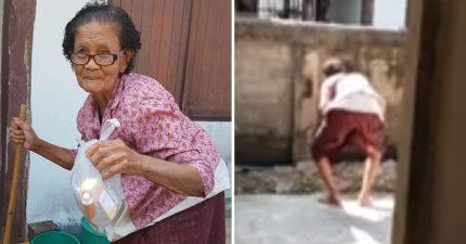 影/84歲阿嬤需要拄拐杖才能走路 但她到牆邊撩完裙子後...竟然「直接飛起來」