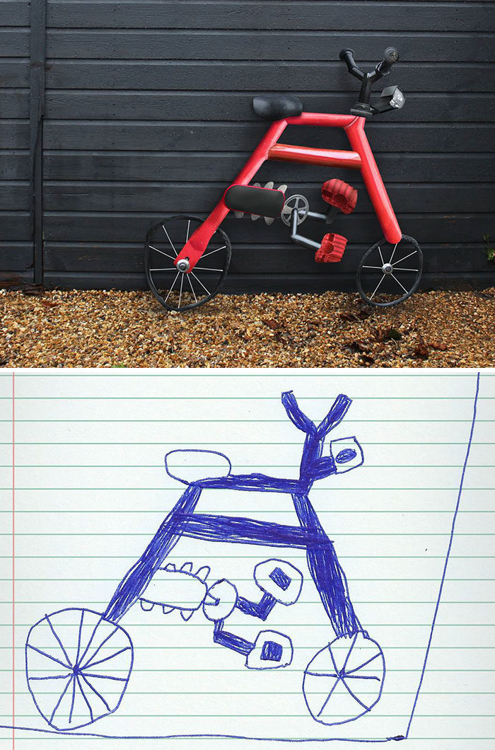 30張天才老爸「把6歲兒塗鴉變成現實」爆笑畫面 人臉尼莫根本是惡夢啊XD