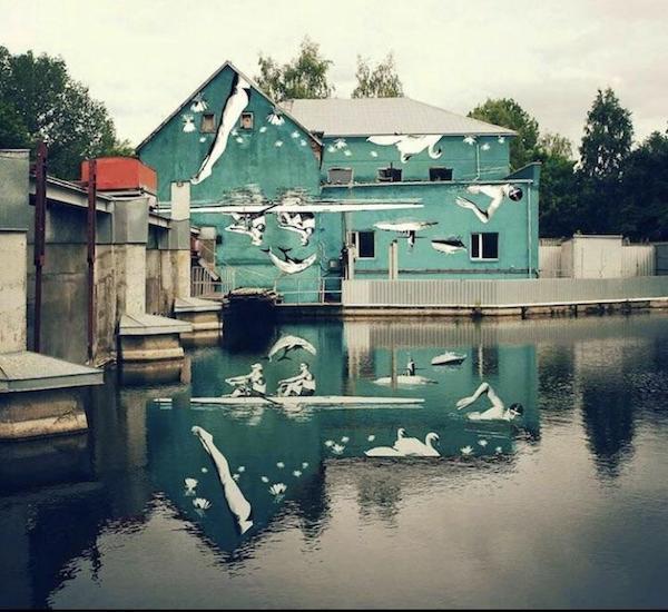 18張「挑戰你的完美主義」的創意設計 房子塗鴉倒映在湖面後…直接變成奧運會現場!