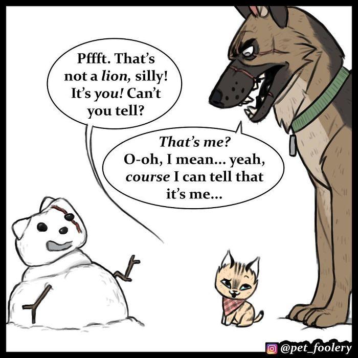 17張「讓你秒被牠們融化」的超療癒動物漫畫 被狗狗保護得好好的天真小貓❤