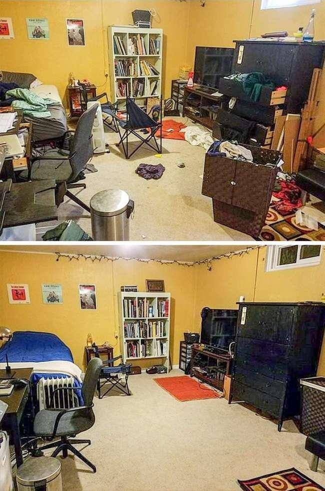 26張完美到「心情好到像中樂透」的療癒對比照 超亂垃圾堆...變成你夢想中的房間!