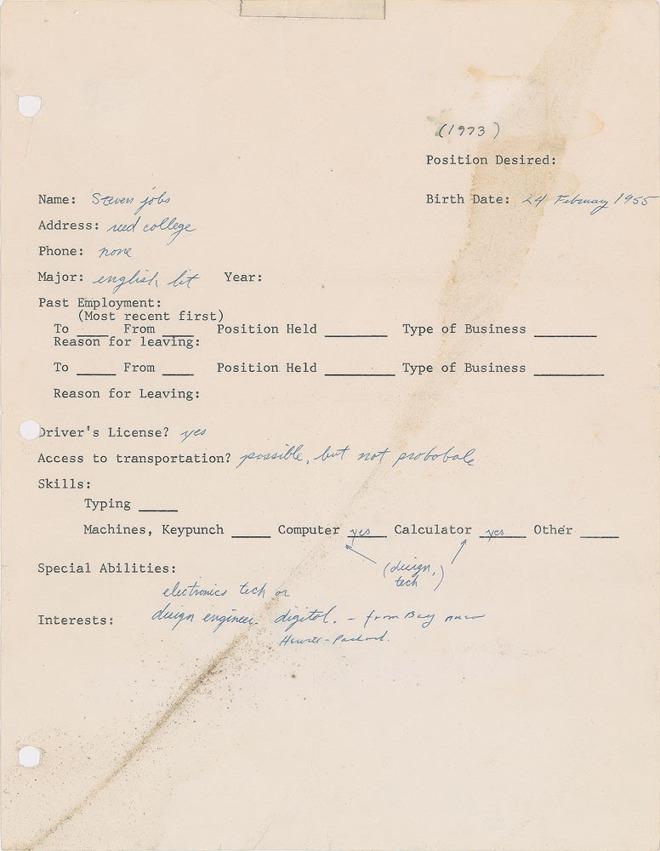 賈伯斯18歲「手寫個人履歷」曝光 當年的老闆看到他的「低級錯誤」絕對直接丟垃圾桶!