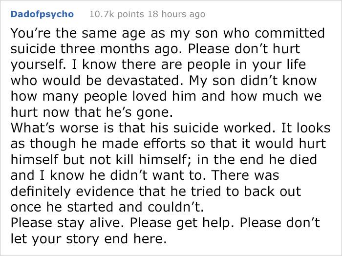 少年求人「嗆到他有結束一切的理由」酸民卻意外救他一命