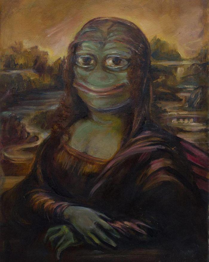 15張正妹藝術家「把梗圖→世界名畫」 悲傷青蛙變身蒙娜麗莎再也不QQ!