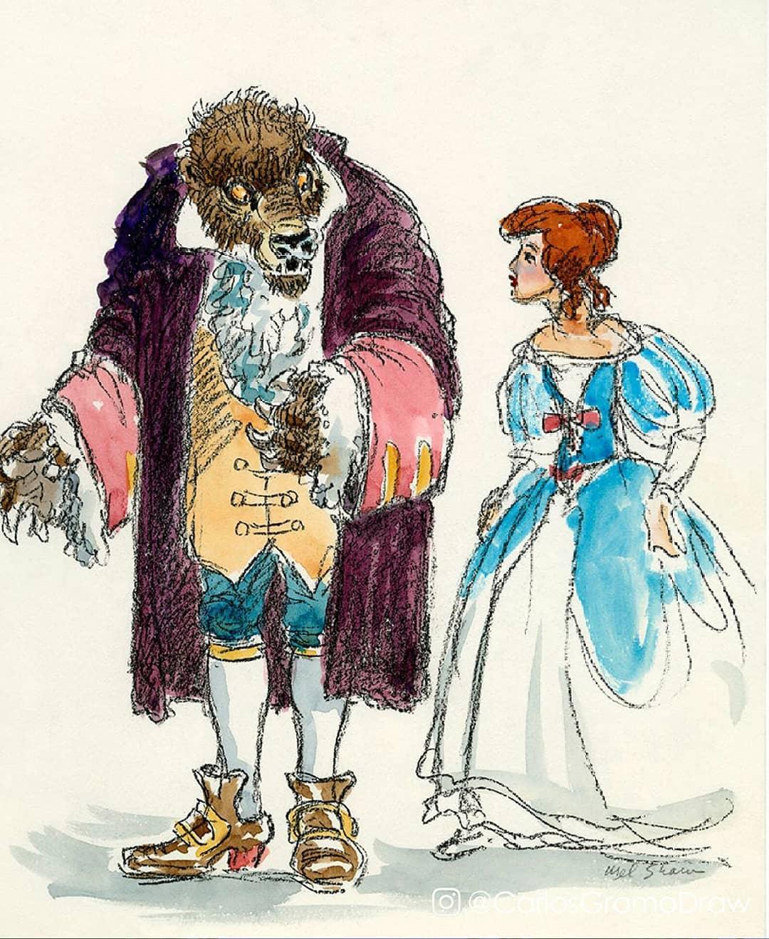 就像另一部動畫片!6位迪士尼公主「穿上最原始草圖服裝」的模樣 貝兒的禮服根本睡衣