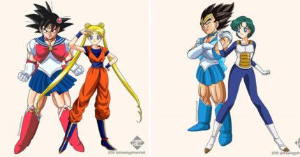 7個超級賽亞人「穿到美少女戰士制服」的爆笑畫面 天津飯肌肉爆發的水手服太驚人!