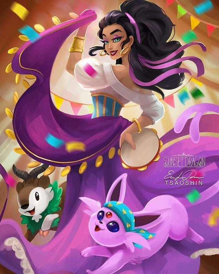 9張「迪士尼公主養了寶可夢」的夢幻生活照 愛麗兒跟水精靈才是真的絕配❤