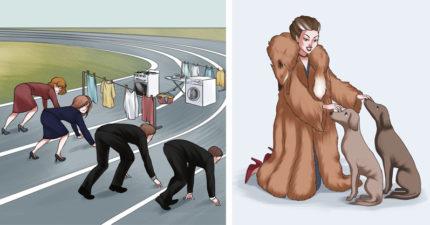 11張「一秒揭破現代殘酷事實」的反諷插畫 一張圖就能看出「女人的無奈」