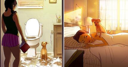 插畫家用24張照片解釋「為什麼家裡有狗的人永遠不孤單」