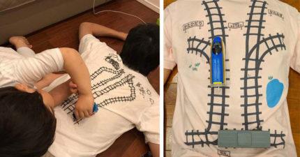 父母忙著滑手機無法跟孩子玩?史上最強「軌道T恤」讓你不動都讓孩子玩爽爽
