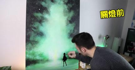 藝術家畫出「哈利波特與護法鹿」 關燈後「魔法出現」讓畫活了起來!