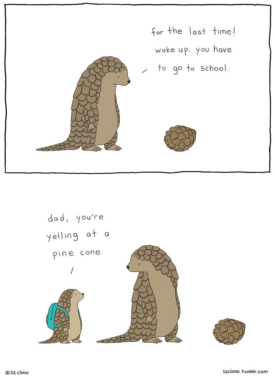 20張「中肯到你只能狂點頭」的超舒壓動物漫畫 蛇跟老鼠表白的動作太萌了♥