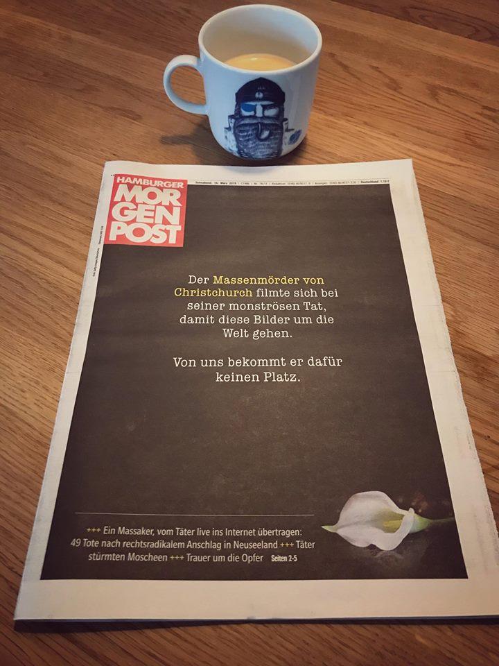 紐西蘭發生「50人過世暗黑行動」震驚全球 德國報紙「一片黑」讓其他媒體都感到丟臉!