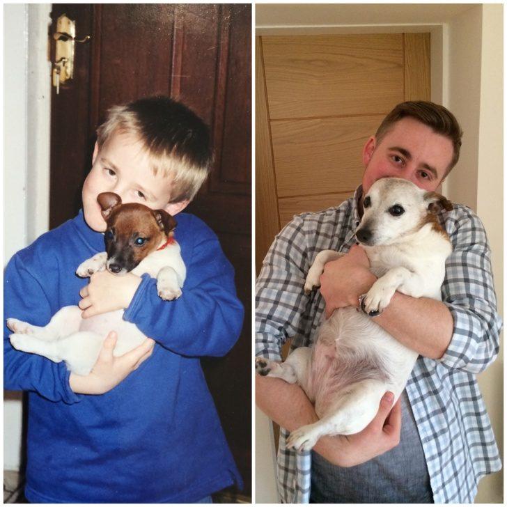 20張「人類沒有狗狗生命不完整」的超Q長大前後對比照 緊抱著「泰迪熊娃娃」睡覺的貓皇