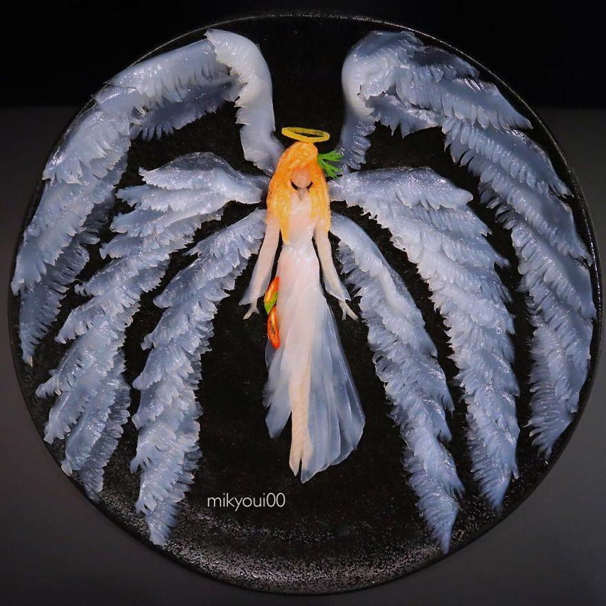 廚師把生魚片變成夢幻畫作!《小美人魚》「光澤鮭魚長髮」讓人又餓又捨不得吃啊