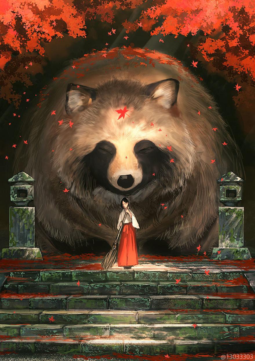日藝術家以插畫創造「動物巨大化」奇異世界 「哥吉拉版蝴蝶」比宮崎駿動畫更夢幻!