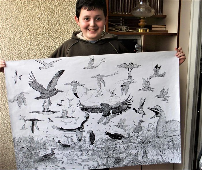 天才弟2歲就開始畫畫國中作品「直接收錄在百科全書」 網看完16歲作品大驚:我好廢