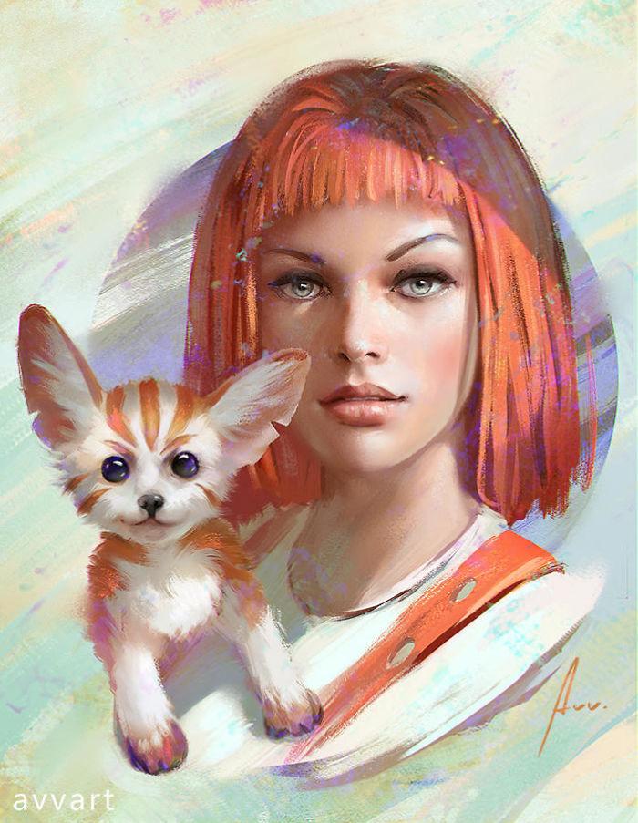 畫家繪製匹配度100%「角色與他們的護法動物」 雷神的小怪物千萬不能惹!