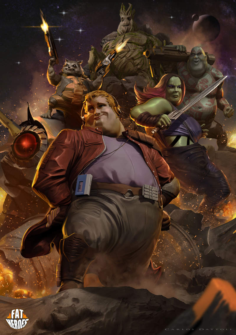 畫家把知名角色全都「胖胖化」!薩諾斯意外適合 帥哥星爵崩壞到:你誰啊