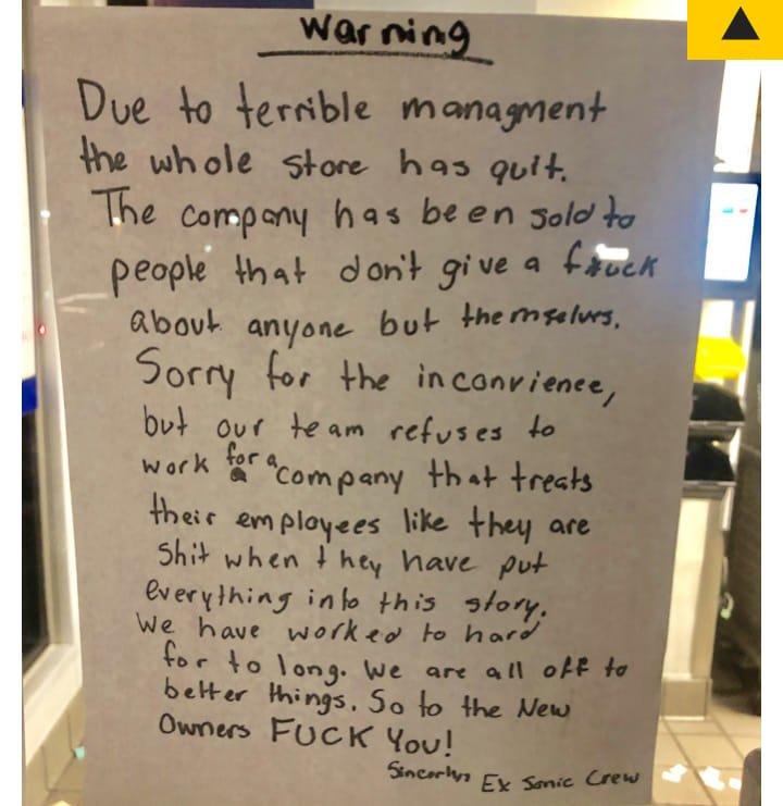 快餐店員工「只留下一封信」就集體離職 網友看完秒讚:老闆真的活該!