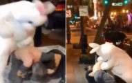 影/街上男子對女友亂來!復活節兔兔幫忙教訓「超喜感影片」笑翻網友:真人版勁量電池無誤