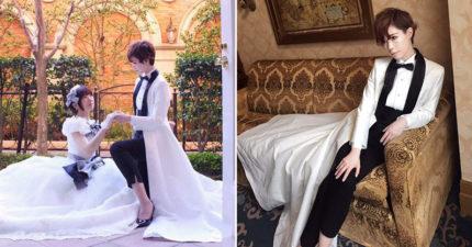 「女性新郎」為自己縫製帥氣結婚燕尾服!站起來時「超霸氣下擺」網推爆:最完美的婚紗❤