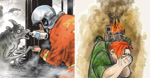 20張「紀念巴黎聖母院最後美麗身影」的心碎插畫 鐘樓怪人緊抱大教堂的樣子太催淚QQ