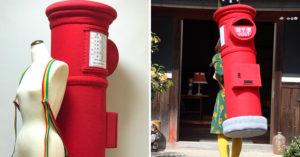 她製作1:1大小「郵筒背包」真的能投信 網友翻出歷代作品傻眼:竟然有「電話亭」!