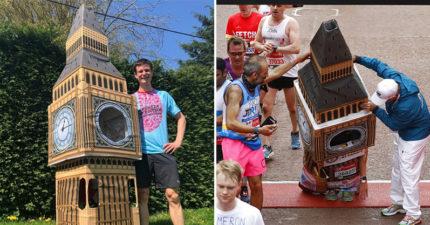影/他穿上「超巨大笨鐘」跑馬拉松 最後「卡在終點線」網看影片笑翻:差點真的要送終!