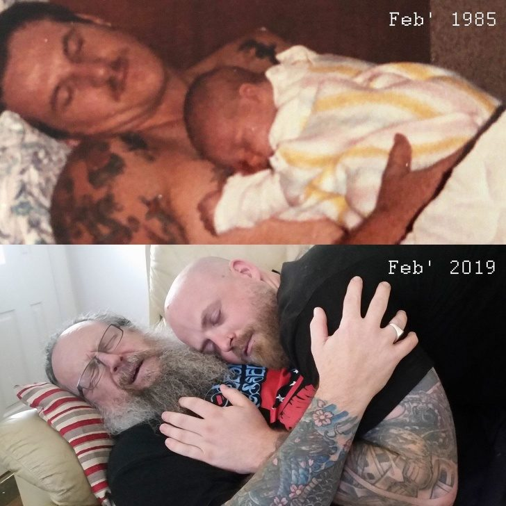 20張網友PO出「史上最強的親子互動」 父子重演34年前「兒子甜蜜躺在懷中」超爆笑!