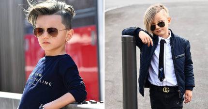 帥到連大人都羨慕的「瑞士6歲小男模」 脫下墨鏡「天使電眼」姐粉心動:願意再等10年!