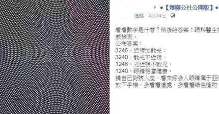 網傳「1張圖片測視力」結果超神準 看到「3246」得注意眼睛健康!
