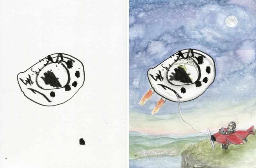 20張藝術媽巧手把「小孩鬼畫符→超神畫作」 超醜雞蛋直接變夢幻UFO!
