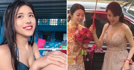 新娘出嫁「超火辣伴娘」搶走全場目光 網搜是台灣衝浪女神...她喊冤:真的不是我!