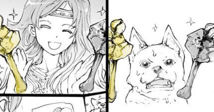 漫畫家爆笑改編「貪心的狗+金斧頭銀斧頭」寓言故事 劇情神開展網笑瘋:都是太誠實的錯!
