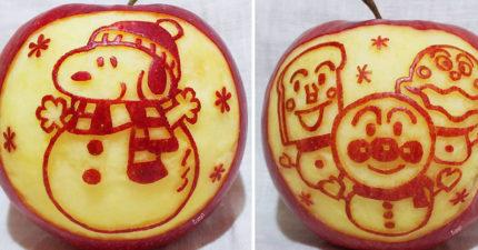 神人把削蘋果變「高級藝術品」 用果皮雕出「白雪公主」網友全跪了!