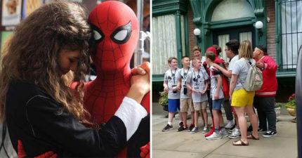 遊客在迪士尼跟蜘蛛人歡樂大合照...面罩一拆「本尊現身」全場嚇瘋!
