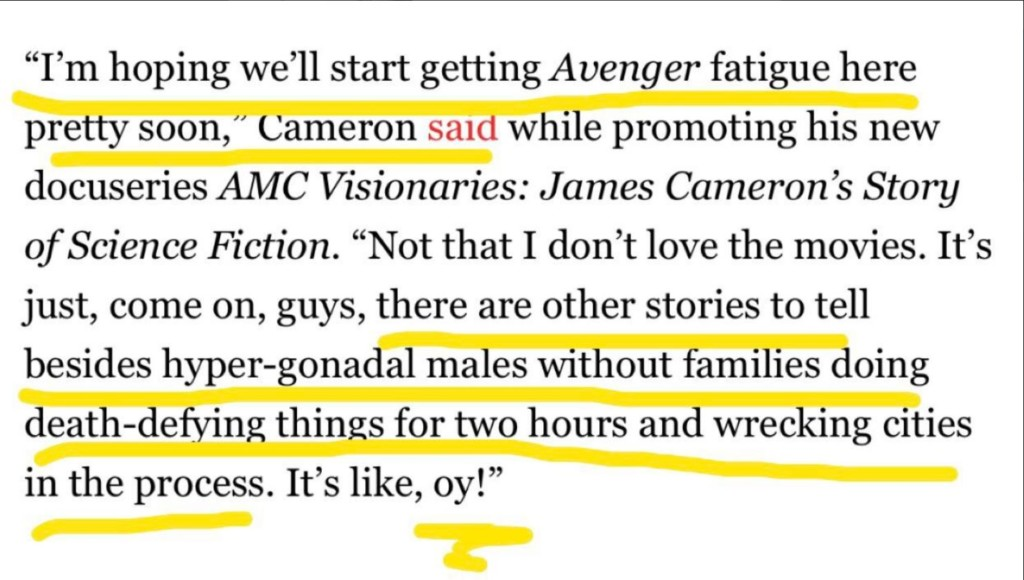 卡麥隆狠嗆:《復仇者》只是一堆「沒親人的男人互打」 今年改口:你們是傳奇!
