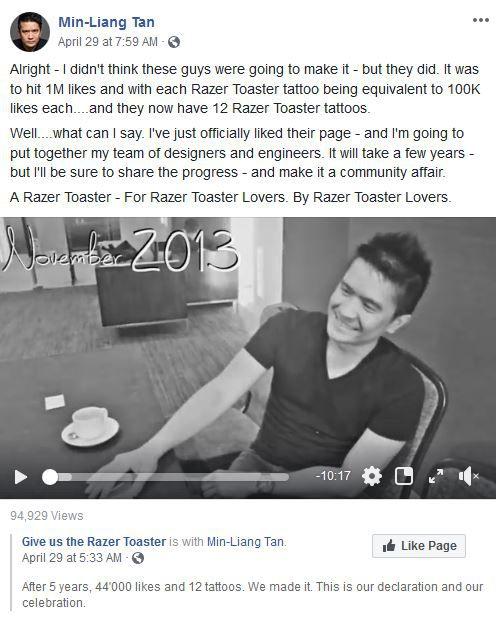 電競界LV推出「烤土司機」原因曝光 CEO兌現「5年前的玩笑」:已召集吐司小組!
