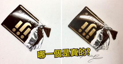 日本藝術家「超逼真零食畫作」被網友推爆 想偷吃薯片卻發現「只是一張紙」!
