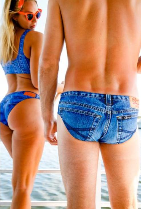 品牌推「牛仔比基尼」挑戰人類品味極限 超擬真「牛仔泳褲」網友笑翻:時尚好難!