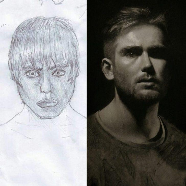 20張畫家「重畫以前的作品」證明練習絕對能改變 他花15年讓「屁孩畫→電影場景」