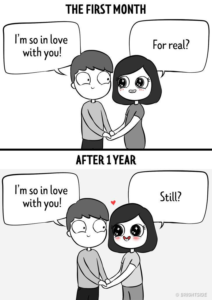 12張老夫老妻才懂的「交往1個月v.s1年」差異漫畫 在一起很久「只有一件事」不會變!