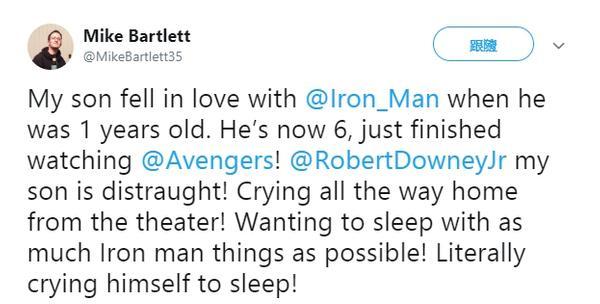 6歲男孩看完《復4》大崩潰 淚奔回家「緊抱鋼鐵人玩具」老爸緊張問:我該怎麽辦?