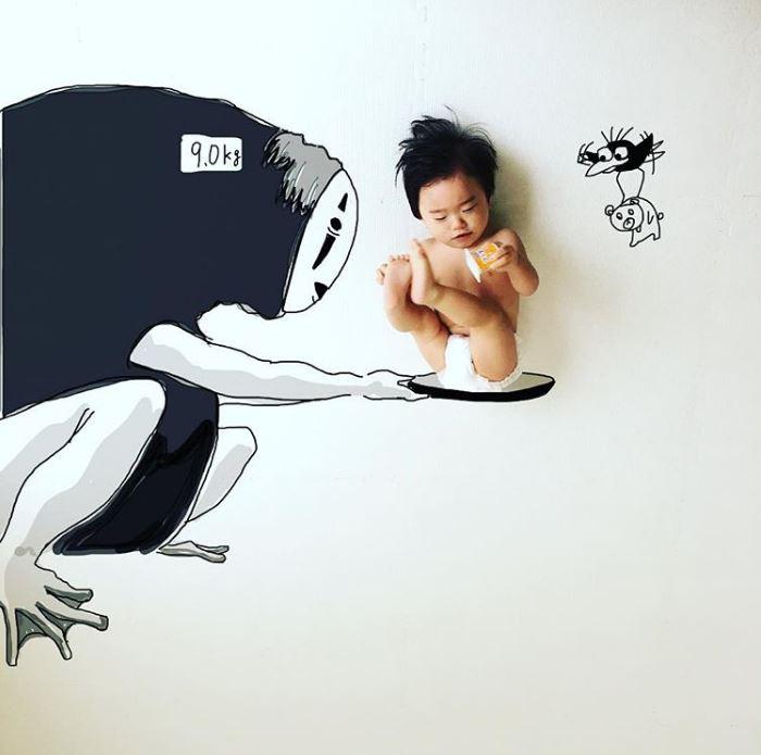 神手爸把兒子「畫進吉卜力動畫」 超萌成果融化全網:比主角還可愛!