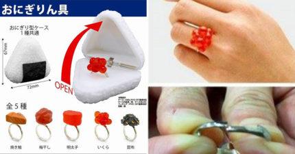 日扭蛋推超精緻「御飯糰壽司」求婚戒指 快拿「炙燒鮭魚」把吃貨妹娶回家!
