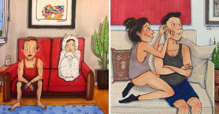 20張情侶「關上房門後」的浪漫插畫 女友睡不著「也不會讓你睡」