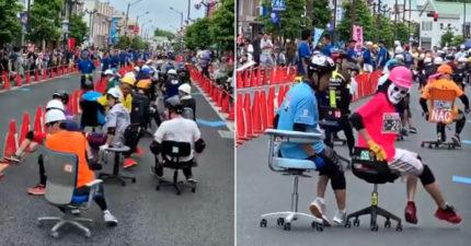日本舉辦超荒謬「辦公椅賽跑」 選手「倒頭栽翻倒」競爭激烈…冠軍獎品卻讓人傻眼!