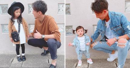 日本父女曬超甜蜜「放閃穿搭」太催生!只要「同色系」就可以讓媽媽吃醋到不行~