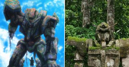 森林驚現超逼真「鋼彈石像」 當地居民曝光「歷史真相」網嚇壞:外星人的產物?